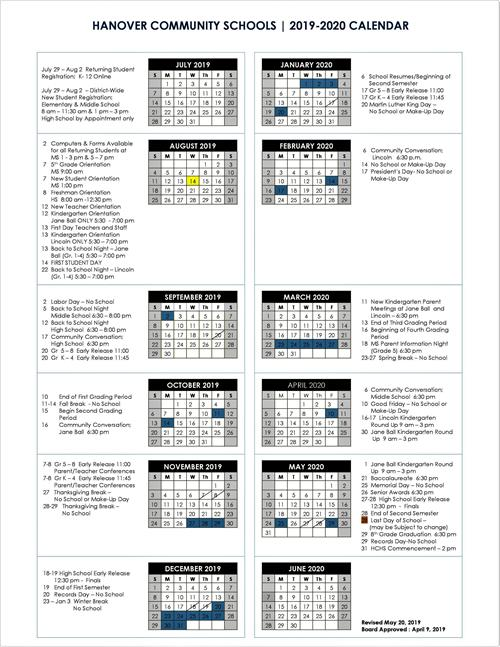 picture of yearly school calendar