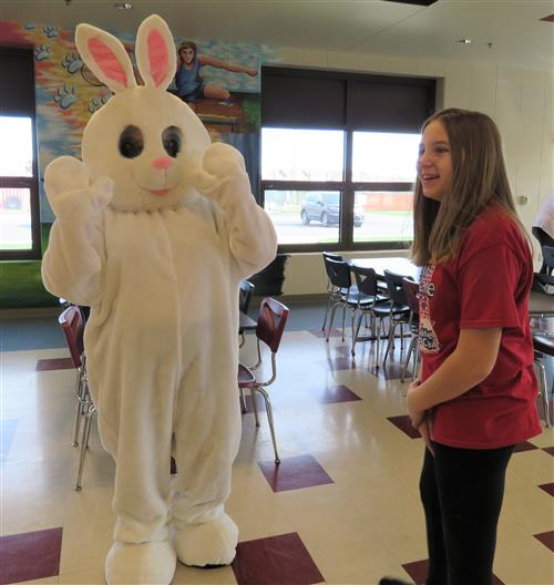 Easter bunny with girl