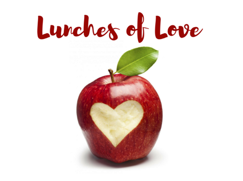 apple with the words Lunches of Love on top