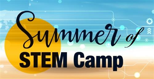 picture of sun with words summer of STEM Camp on it