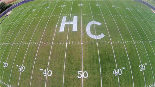 drone picture of football field