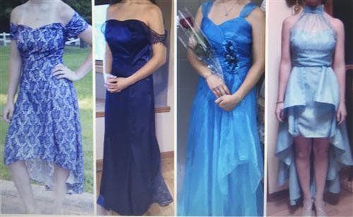 four different prom gowns
