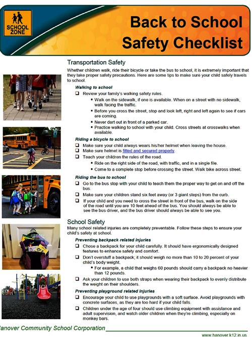Picture of Back to School Safety Checklist