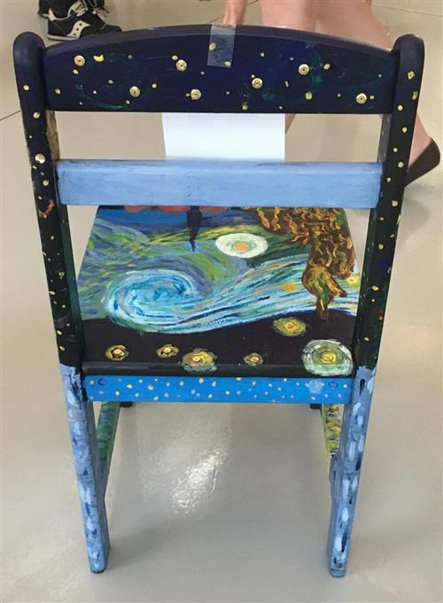 Picture of back of the winning art chair & A Starry Night Chair