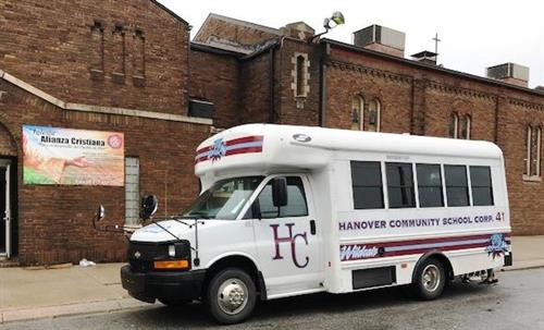 Picture of Hanover School bus in front of food bank