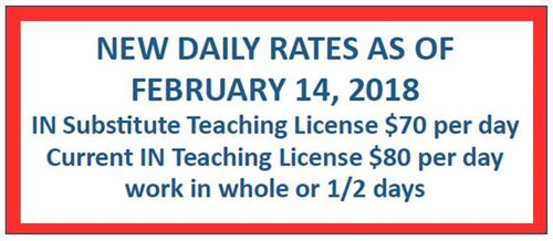 picture of substitute pay scale IN Subs $70 per day With Teaching license $80 per day