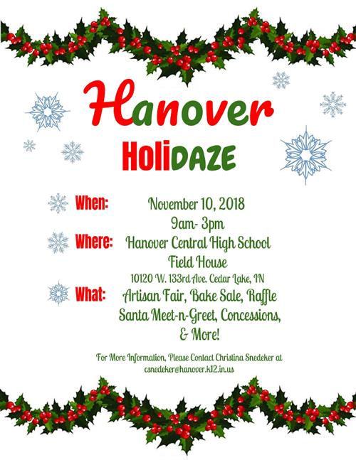 picture of flyer for Hanover Holidaze event with link