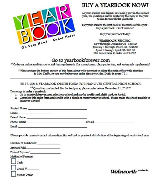 Order form for 2018 Yearbook