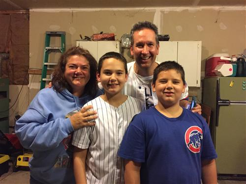 Mrs. Miedema, her husband Gary, and her sons Jack and Nick.